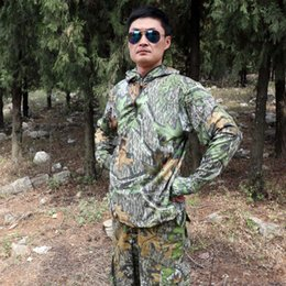 Camouflage T Shirt Men Polyester Australia - Summer Breathable Quick-dry Leaf Bionic Camouflage Long Sleeve T-Shirt Tops Men Hunting Fishing Hiking Sunscreen Hooded T-Shirts