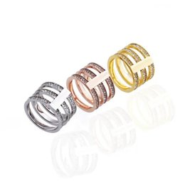 Wedding Ring Gold 18k Diamond Australia - New Arrival Fashion Lady 316 Titanium Steel Hollow out Three Circle Diamond M Wedding Engagement 18K Gold Plated Wide Rings 3 Color Size6-9