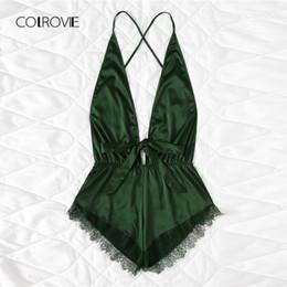 $enCountryForm.capitalKeyWord UK - Colrovie Pink Sexy Open Back Lace Teddy Pajamas Army Green Summer Wireless Satin Women Nightgowns V Neck Bow Sleepwear Y19051801