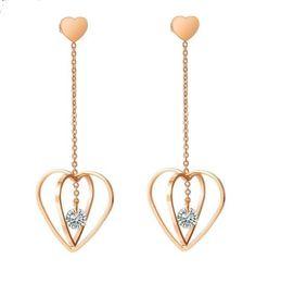 $enCountryForm.capitalKeyWord Australia - Stainless steel earrings designer jewelry rose gold hollow heart earrings fashion tassel long style wholesale cheap jewelry