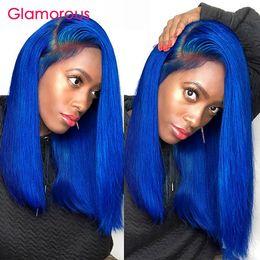 Human Hair Short Bob Wigs Australia - Blue Human Hair Wig Lace Front Wig With Baby Hair Brazilian Remy Hair Short Lace Front Bob Wigs For Black Women