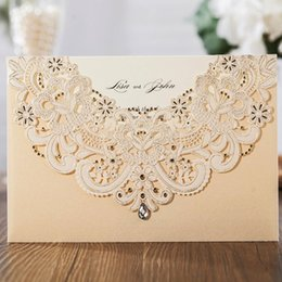 $enCountryForm.capitalKeyWord Australia - Wishmade Laser Cut Wedding Invitation Cards With RSVP Card & Thank You Card Champagne Gold and Blue, Customizable,Free Shipping