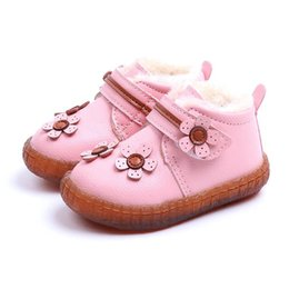 babies snow boots NZ - Baby Girls Warm Plush Lining Ankle Boots Children Winter Shoes Kids Flower Hook & Loop Snow Boots Size 15-25