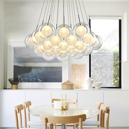 Hanging Glass Ball Lights Australia - Modern LED chandelier living room hanging lights home deco lighting dining room fixtures Nordic bedroom Glass ball pendant lamps