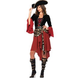 Wholesale women pirate cosplay costume for sale – halloween Women Hallwoeen Pirate Costume Hot Sexy Designer Dress Theme Party Cosplay Theme Clothes Long Sleeve Polyeter