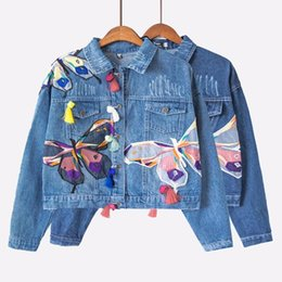 Discount jeans women colorful - Colorful Butterfly Embroidery Ladies Cropped Jean Jackets Patch Designs Womens Denim Coats with Tassel Short Chaquetas C