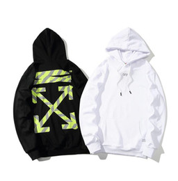 Wholesale Best selling brand clothing OF Europe and the United States tide brand WHITE cordon printing arrow hooded men and women sweater