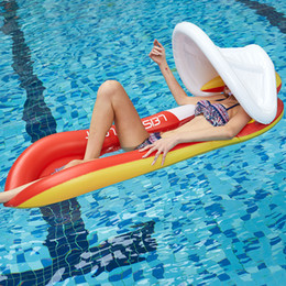 inflatable pool chair floats Australia - Foldable outdoor water hammock PVC Inflatable Lounge Chair Floating Sleeping Bed Swimming Pool water Hammock with Sunshade