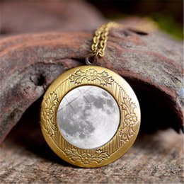 Titanium Moon Pendant Australia - Luminous Glow in the dark Galaxy Universe Locket Necklace Star Moon Glass Cabochon Necklaces Pendants Fashion Jewelry DROP SHIP