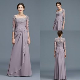 $enCountryForm.capitalKeyWord Australia - Free Shipping A Line Sweetheart Floor Length Chiffon Mother Of The Bridal Dresses With 3 4 Sleeve Appliques Lace Modest Evening Gowns