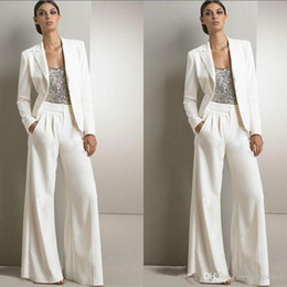 Mother bride dresses silver satin online shopping - 2019 New Modern White Three Pieces Mother Of The Bride Pant Suits For Silver Sequined Wedding Guest Dress Plus Size Dresses With Jackets