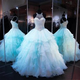 $enCountryForm.capitalKeyWord Australia - Ruffled Organza Skirt Quinceanera Dresses 2019 with Pearl Beaded Bodice Sheer High Neck Lace up Backless Light Sky Blue Prom Puffy Ball Gown