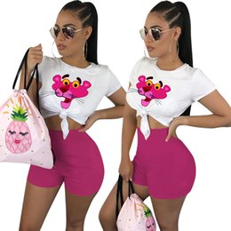 Pink Clothing Women UK - Women Summer PINK Outfits Cartoon Tracksuit T Shirt Set Short Sleeve 2 Piece Plus Size Sportswear Joggers Set Street Clothes 02