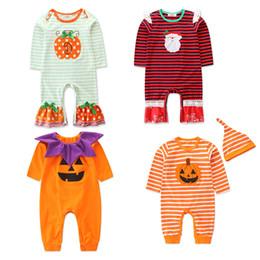 Wholesale printed jumpsuit for sale – dress Christmas Halloween Baby boys girls ruffle romper infant Santa Claus pumpkin stripe print Jumpsuits Autumn kids Climbing clothes C4847