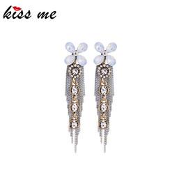 $enCountryForm.capitalKeyWord Australia - Wonderful Crystal Flower Chains Tassel Drop Earrings For Women Vintage Silver Color Dangle Earrings Fashion Accessories