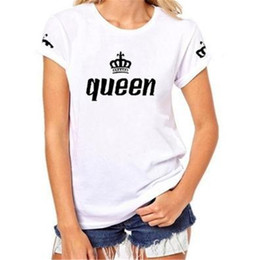 Color Clothes matCh men online shopping - Designer Queen Letter Print Woman Tshirt King Letter Print Man Tshirt Fashion Summer Couples Matching Clothes