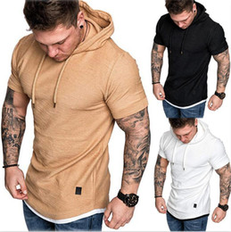 Mens hooded long sleeve t shirt online shopping - 2200 Colour M XL Mens Slim Fit Short Sleeve Shirts Hooded Muscle Tops Hoodie Casual Basic T shirt