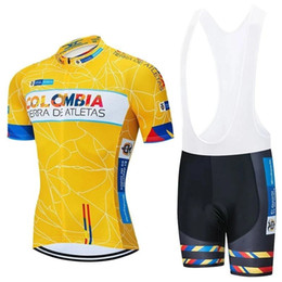 pro tour cycling jersey bib UK - Tour De France 2020 Pro Team Colombia Cycling Jersey kit Men's Summer breathable Short Sleeve Cycling Clothing bib shorts Set Ropa Ciclismo