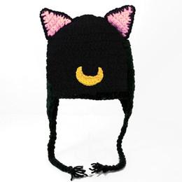 Handmade Kids Summer Hats Australia - Adorable Baby Black Cat Hat,Handmade Crochet Baby Boy Girl Animal Hat,Kids Earflap Winter Cap,Infant Newborn Photo Prop