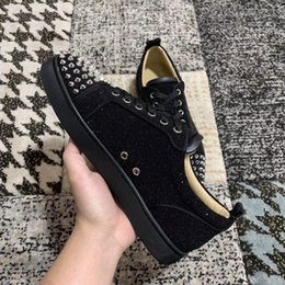 pointed shoes price men Australia - Wholesale Price Name Brand Red Bottom Sneakers Man Casual Woman Spikes &Black Glitter Suede Trainer Cheap Couple Skateboard Shoe