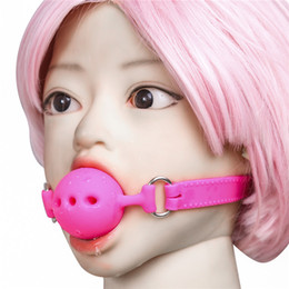 Discount ball lock sex toys - Locking Breathable Silicone Mouth Gags BDSM Gags for Bitch Torture Slave Training Group Sex Party Fetish Play Bondage Ge