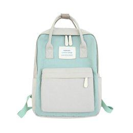 blue color laptop NZ - Women Nylon Canvas School Backpacks Patchwork Backpack Candy Color Waterproof School Bags for Teenagers Girls Laptop Backpacks