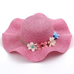 $enCountryForm.capitalKeyWord Australia - Kids Hat Straw Hats For Women and Girl Summer Artificial Flowers Beach Bow Wavy Rim Sun Hat Collapsible Gorras Chapeau Femme
