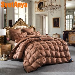 $enCountryForm.capitalKeyWord NZ - Svetanya luxury Goose Down Duvet Bread Style Quilt thick Cotton Comforter 3d Bedding Filler White Gray Pink Yellow Coffee
