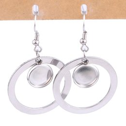 $enCountryForm.capitalKeyWord Australia - stainless steel dangle earring base blanks fitting 10mm 12mm hoop circle cabochon setting bezels hyperbole personality diy ear hooks