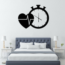 clocks for kids Canada - Heart Cardio Clock Vinyl Wall Decal Hospital Health Medicine Wall Sticker for Living Room Bedroom Decor Accessories Art