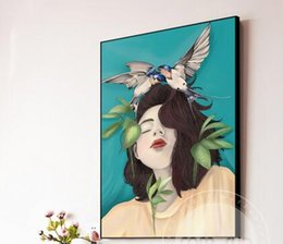 birds home picture UK - Nordic Comic girl Feather Bird Modern Lady Women Girl Anime Art Pictures For Living Room Modern home decor 24x36inch(60x90cm)