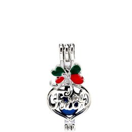 Wishing Pendant UK - Silver Enamel Heart Faith Letter Wish Bag Oysters Pearl Beads Cage Locket Pendant Aromatherapy Perfume Essential Oils Diffuser-P