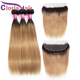 Discount blonde human lace frontal Honey Blonde Bundles With Lace Frontal 13x4 Colored 1B 27 Peruvian Virgin Straight Hair Weaves Ombre Human Hair 3 Bundle