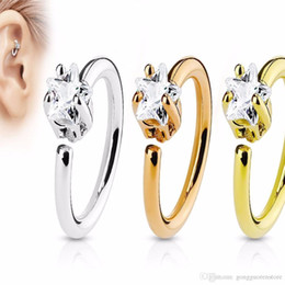 Earrings Ears Rings Australia - Fake Ear Clip Hoop Cartilage Earrings Tragus Nose Ring Stud Small Size 20PC Real Septum Rings CZ Zircon Pierced Piercing