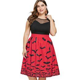 1655e364c4 Size Bat Dress UK - Plus Size Sheer Yoke Halloween Bat Print Sleeveless  Dress