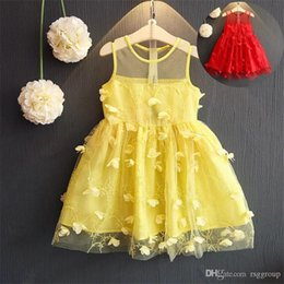$enCountryForm.capitalKeyWord Australia - Designer Summer Girls Princess Dress Blank Red Yellow Vestidos Kids Party Birthday Wedding Dresses Sleeveless Ruffle Floral Lace Girls Dress