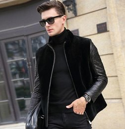 $enCountryForm.capitalKeyWord Australia - Winter thicken thermal faux fur leather jackets men casual mens patchwork leather coats stand collar black fashion outerwear