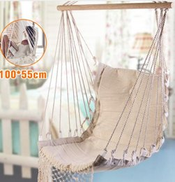 Discount child safety - White Hammock Outdoor Indoor Garden Dormitory Bedroom Hanging Chair For Child Adult Swinging Single Safety Hammock
