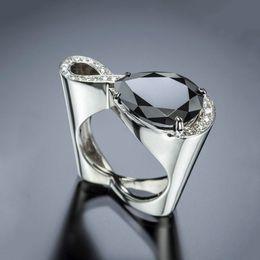 $enCountryForm.capitalKeyWord Australia - Fashion Silver Color Hollow Heart Ring Men Love Wedding Finger Rings For Women Cross Asymmetry Gift Party Rings O5m305