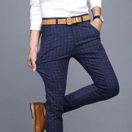 c0a0e9d51f5c0f CheCk trousers online shopping - ZOGAA Men Dress Pant England Plaid  Business Casual Slim Fit Pantalon