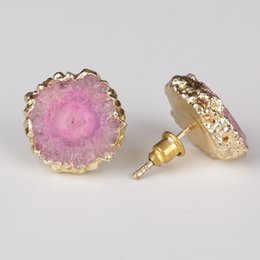 Discount natural semi precious stones - gold frame thick pink natural solor druzy drusy stone slice semi precious stone bead charm claw stud earring for women u