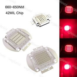 Wholesale Light Beads Red 660~665NM COB 42MIL Chip 10W 20W 30W 50W 100W For Grow Lights Covered Grow Tent Green Houses Plant Hydroponic Systems EUB