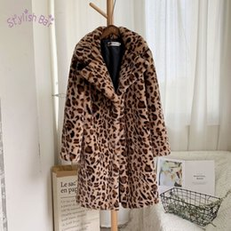 warm long stylish coats women Australia - Stylish Bar Autumn Winter Woman Faux Fur Coat Leopard Print Cardigan Loose Medium Long Windbreaker Lamb Female Outdoor Coats SH190930