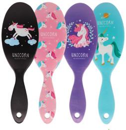 Detangle brushes online shopping - New Unicorn Detangling Brush Animal Print Anti static Magic Hair Brush Massage Comb Shower Wet Detangle Hair Brush Salon Hair Styling Tool