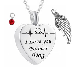 $enCountryForm.capitalKeyWord Australia - Electrocardiogram Shape Cremation Birthstone Jewelry for Ashes Keepsake Angel wings Stainless steel Urn Locket for Dog