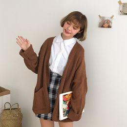 $enCountryForm.capitalKeyWord Australia - Loose Women Cardigan Coat Double Pocket Design Sweater Jacket Cute Sweet Girl Casual Long Knitted Cardigan Pink Cape Top