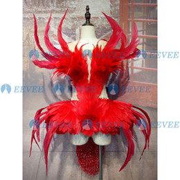 Wholesale stage costumes singers resale online - Red feather stage costume sexy see thought female singer performance outfit bar nightclub DS DJ party rave bodysuit