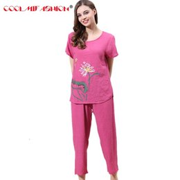 1f797d37a Women pyjamas home clothes plus size New sleepwear set short sleeve pajamas  for women pijama sets cotton linen pijamas Nightwear