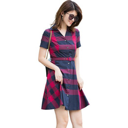 $enCountryForm.capitalKeyWord NZ - Plaid short-sleeved cotton classic long skirt English style 2019 summer new thin women's dress casual fashion 01brand