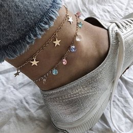 anklet women Australia - Women Fashion Colorful Crystal Beads Stars Pendant Gold Double Layer Anklet Charm Beach Party Jewelry Accessories Lover Gift